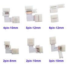 Conector LED de 5 a 500 pulgadas con forma de L, 2 pines, 3 pines, 4 pines, 5 pines, 6 pines para codo de conexión, ángulo recto, 5050 RGB RGBW 3528 ws2812