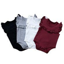 Sleeveless Bodysuit Newborn Baby-Girl Outfits Ruffled Solid