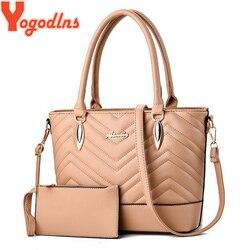 Yogodlns 2 pçs/set Mulheres Bolsa Grande Capacidade de Couro PU Embreagem Mulheres Meninas Sling Saco Ombro Feminino Top-handle Bags Bolsa