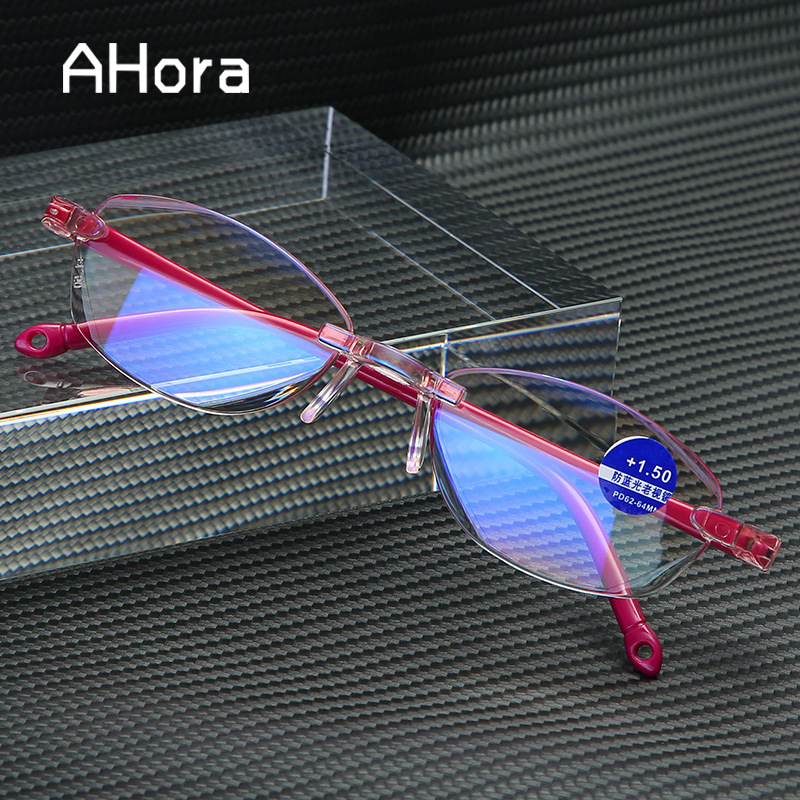 Ahora New Rimless Anti Blue Ray Reading Glasses Lady Women Diamond Cutting Oval Reading Presbyopia Glasses Female +1.0 To +4.0