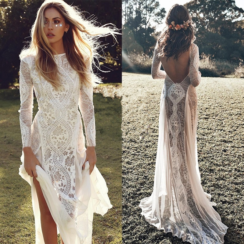 Modest Boho Mermaid Wedding Dresses 2020 Vestido De Novia Lace Wedding Gowns Open Back Long Sleeve Bridal Dress Free Shipping