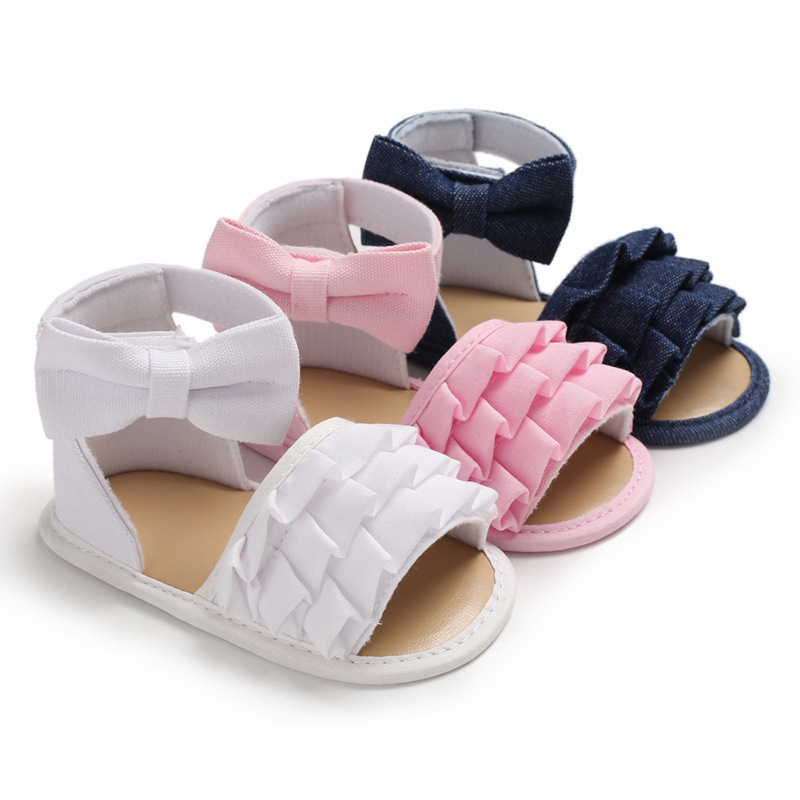 Baby Girl Sandals Soft Anti-Slip Sole Lovely Pink Bowknot Flower Flat With Crib Princess Newborn First Walker Infant Sandals