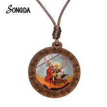 Collier amulette St Michael pour homme et femme, breloque en verre, pendentif rond en bois