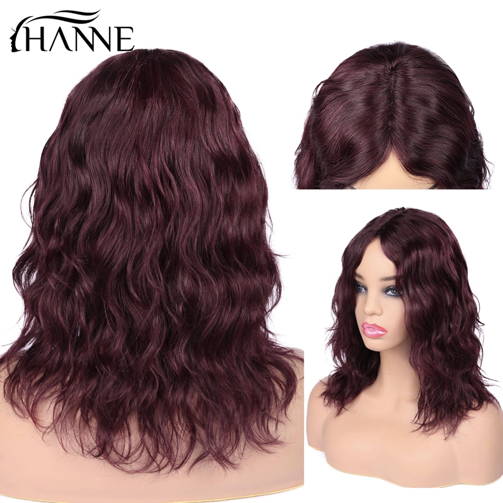 HANNE Brazilian Human Hair Wigs Middle Part Natural Wave Wig Short Wavy 99J/Burg Remy Hair Wigs for Black Women African American