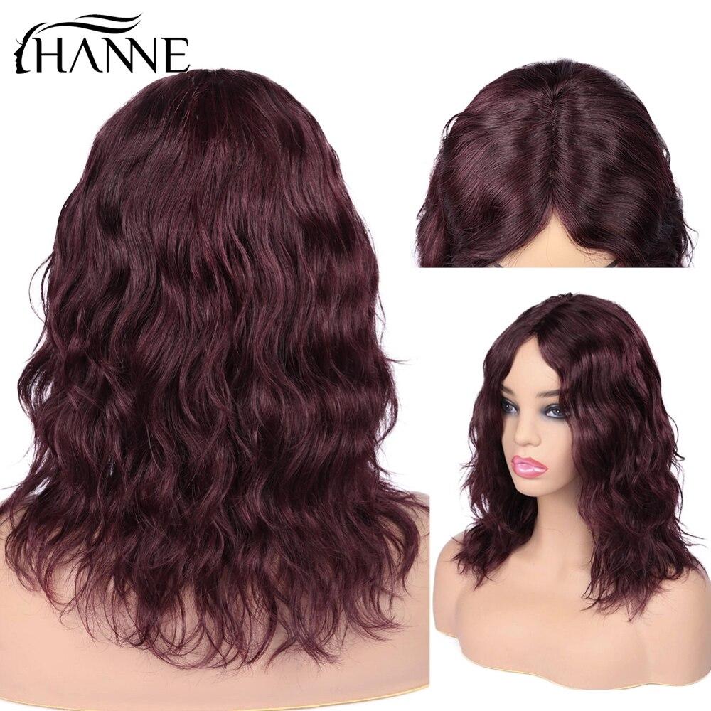 HANNE brazylijski ludzki włos peruki środkowa część naturalne fale peruka krótkie faliste 99J/Burg peruki z włosów typu remy dla czarnych kobiet afroamerykanów