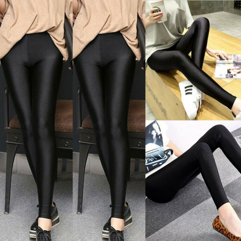M-3XL Womens High Waist Stretch Skinny Shiny Leggings Slim Gym Yoga Fit Tight-Pants Jeggings Pencil Pants Trousers
