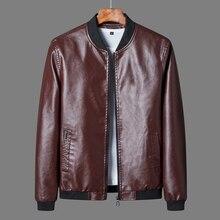 Jacket Motorcycle Leather Coat Stand Biker Men's Casual 8XL Design Windbreaker Collar