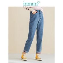 INMAN Women Jeans Embroidery Loose Waist Elastic Letter Medium Winter Autumn Spring Slim