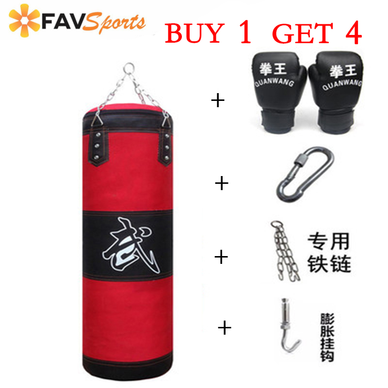 Empty Boxing Sand Bag With Free 4 Style Chain & Hook & Gloves Boxer Training Set Boxing Punching Bag Strap Style Fitness Sandbag