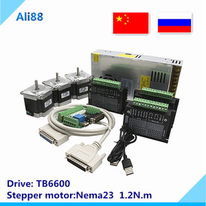 CNC Router Kit 3Axis, 3 pcs TB6600 4A stepper motor driver + Nema23 motor 57HS5630A4+ 5 axis interface board+ power supply(China)