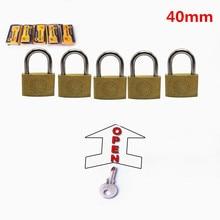 цена на 5 PC 40mm padlocks open by same keys Copper locks padlock for wood door lock Free shipping