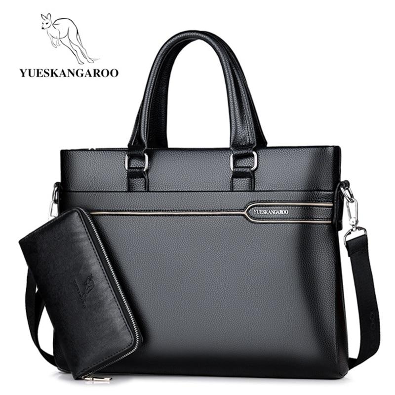 YUESKANGAROO Luxury Brand Men Bag Business Laptop Handbag Vintage Leather Briefcase Man Crossbody Shoulder Bag Male Office Bag