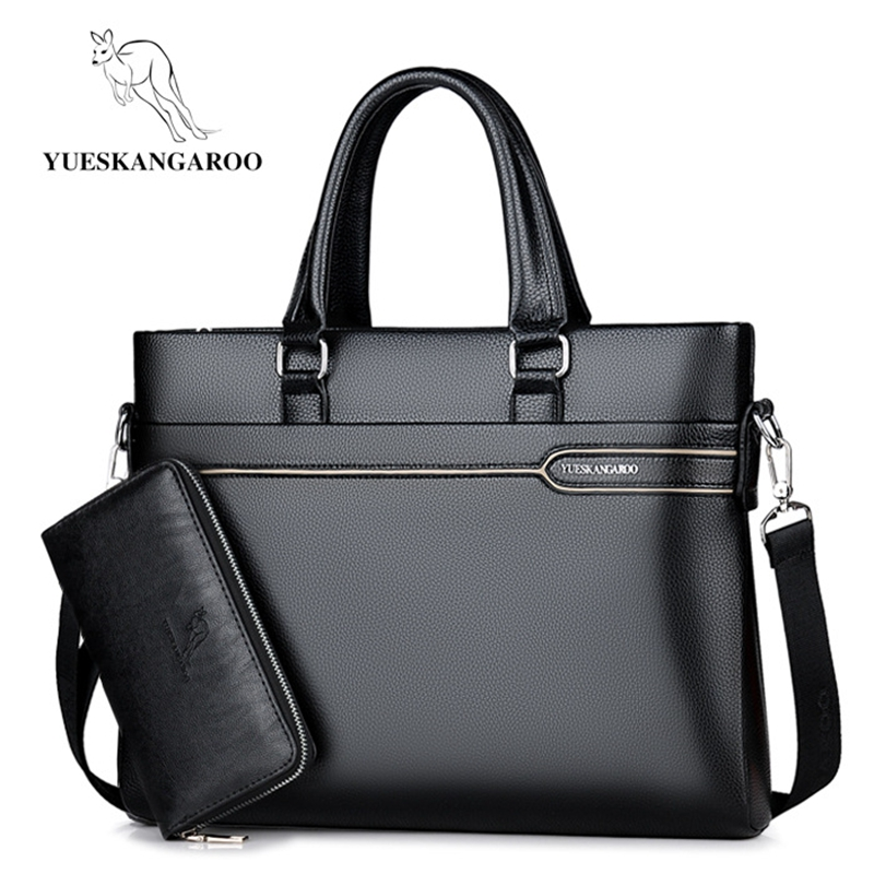 YUESKANGAROO Luxury Brand Men Bag Business Laptop Handbag Vintage Leather Briefcase Man Crossbody Shoulder Bag Male Office Bag