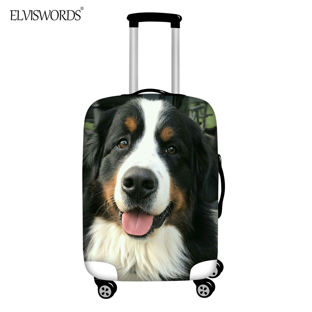 ELVISWORDS Luggage Protective Cover 3D Bernese Mountain Curtr Dog PrintTrolley Suitcase Covers Stretch Travel Accessories
