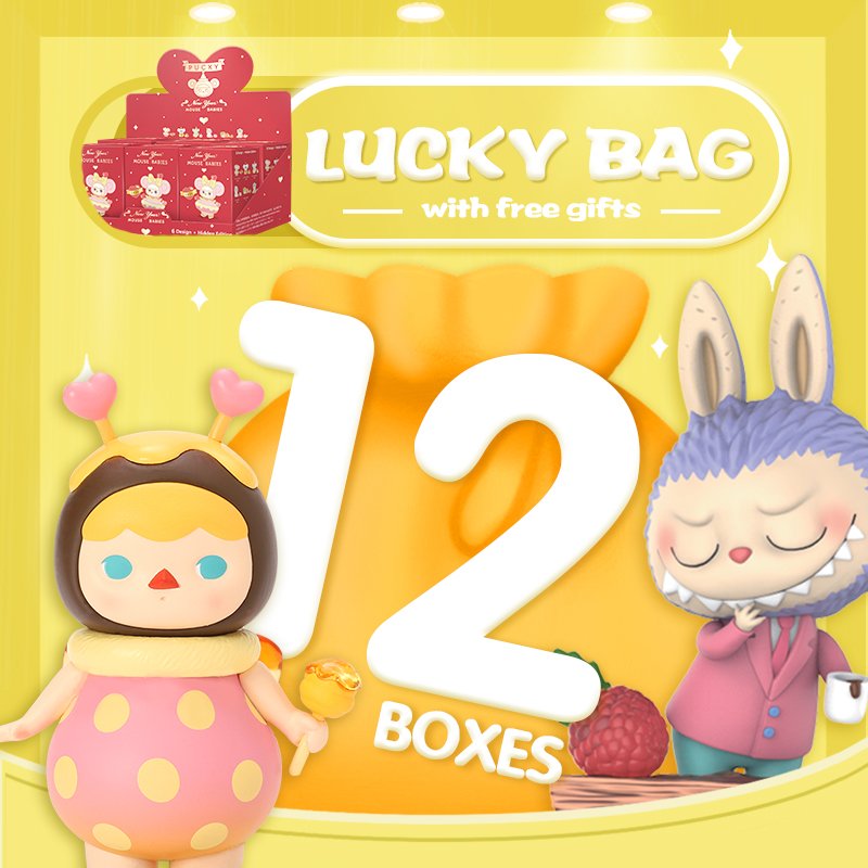 POPMART Surprise Lucky Bag With 12pcs And Gift Sticker Or Postcard Toys Figure Random Box Gift Surprise Free Shipping