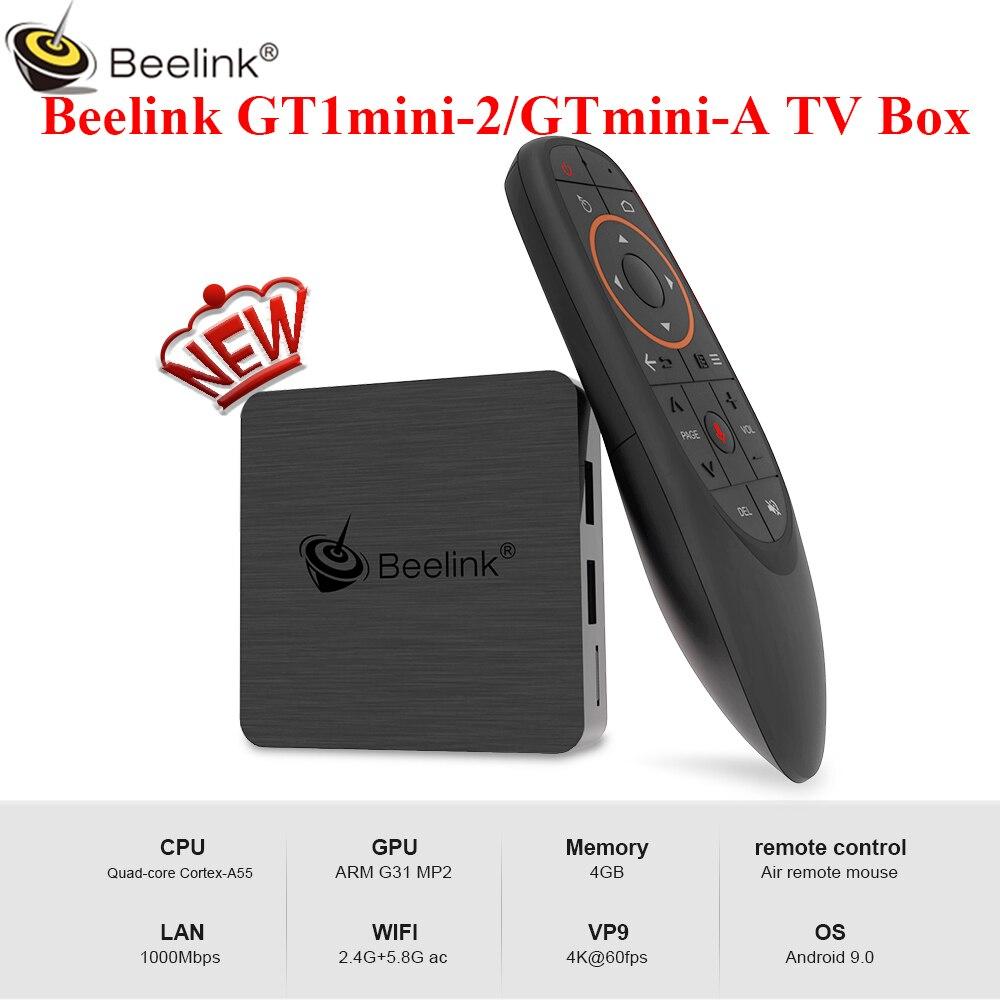 Beelink GT1mini-2 gtmini-a Android 9.0/8.0 TV Box Smart Amlogic S905X3 4GB 64GB BT 2.4G + 5.8G WiFi 4K 1000Mbps 2.4G télécommande vocale
