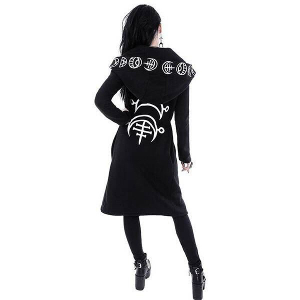 Hae54da7973324fe78e18e41c4398f10fB Women Long Sleeve Punk Moon Print Hooded Black Cardigan Jacket Coat Plus Size S123