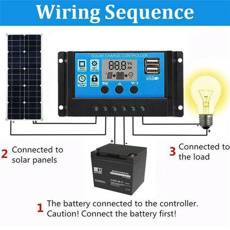 100w painel solar 12v carregador de bateria 04