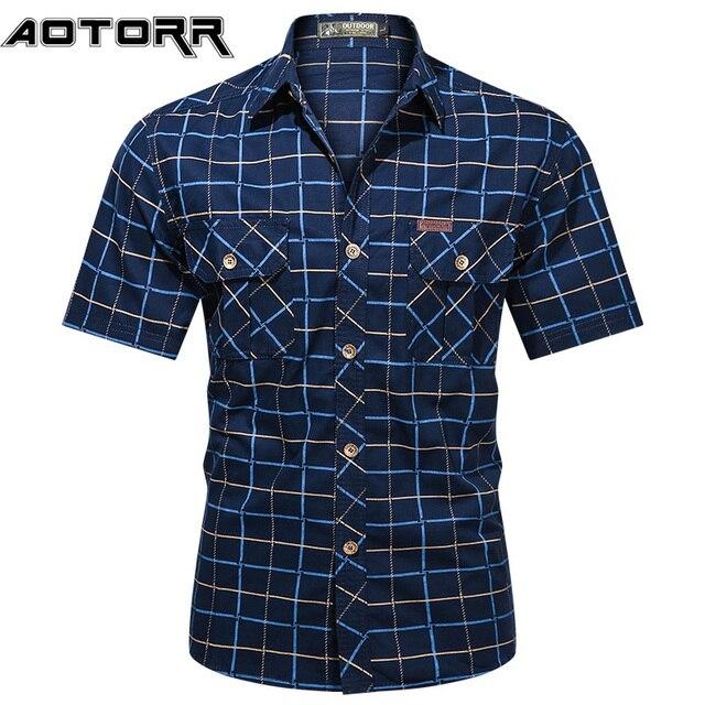 Fashion Mens Plaid Shirt Short Sleeve Bomber Military Shirts 100% Pure Cotton High Quality Business Casual Lapel Shirt Men 2021 1