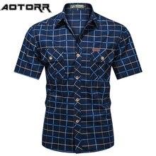 Moda masculina xadrez camisa de manga curta bombardeiro camisas militares 100% algodão puro alta qualidade negócios casual lapela camisa masculina 2021
