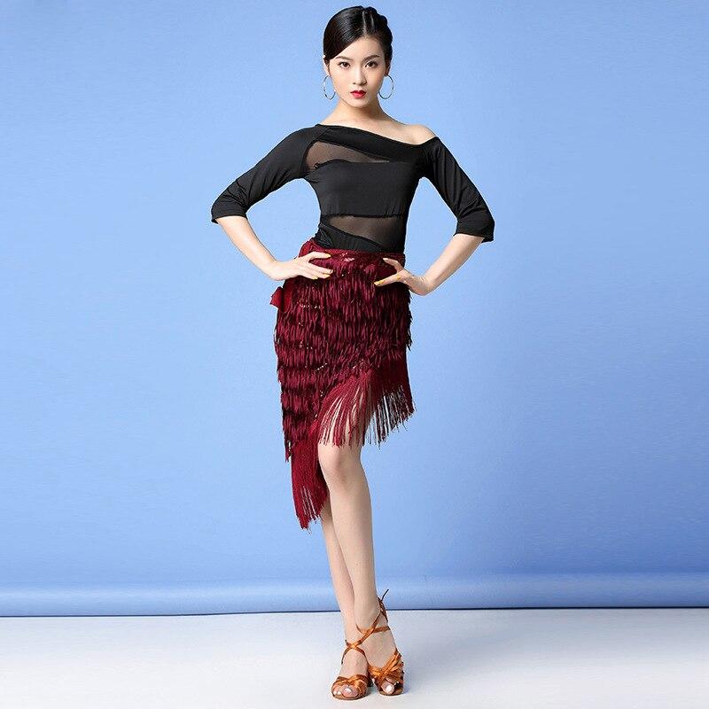 Women Latin Dance Clothes Salsa Samba Half Sleeves Spandex 2 Pieces Fringes Latin Dresses Top & Skirt (Hip Wrap)