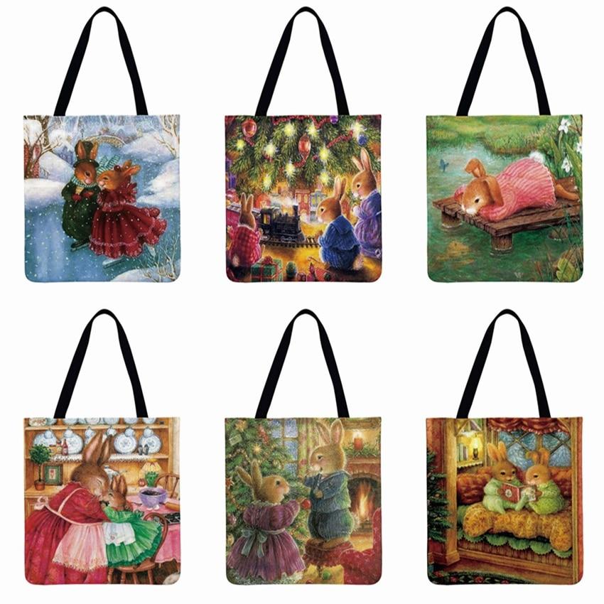 European Pastoral Cartoon Rabbit Printed Tote Bag Women Shoulder Bag Casual Tote Foldable Shopping Bag Reusable Beach Bag