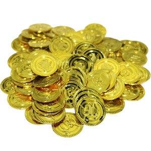 100 шт. детские игрушки Пластик пиратский Золотая монета сокровища в виде монет игровая валюта Детские Декор для Хеллоуин-вечеринки рождественские подарки