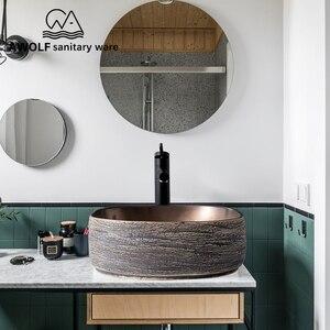 Image 3 - アート盆地シンク浴室洗浄槽ボウルセラミック容器アンティークスクエアストーン上カウンターバルコニー流域 AM920