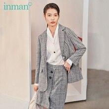 INMAN 2020ฤดูใบไม้ผลิใหม่วรรณกรรมRetro Checkสีเทา2ปุ่มชุดกระโปรงชุดหลวม