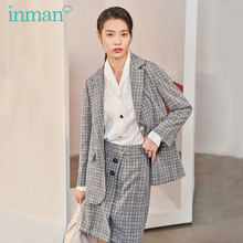 INMAN 2020 Spring New Arrival Literary Retro Check Grey Two button Suit Skirt Loose Suit