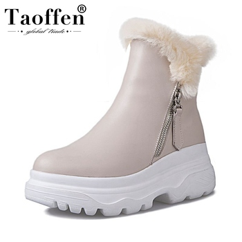 Taoffen Women High Quality Fashion Plush Fur Real Leather Ankle Boots Comfortable Zipper Leisure Club Shoes Footwear Size 34-40