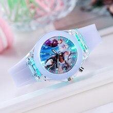 Novo 11 estilos congelados princesa anna & elsa crianças relógio de pulso brinquedos moda cristal dos desenhos animados quartzo relógio de pulso para meninas crianças brinquedo presente