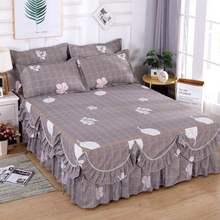 3 sztuka koronki falbanka na ramę łóżka pościel pościel dla księżniczki narzuta łóżko dziewczyna narzuta pełna królowa duży rozmiar 2020 tanie tanio bed skirt Drukowane Domu 1 3kg 400tc Floral Poliester bawełna