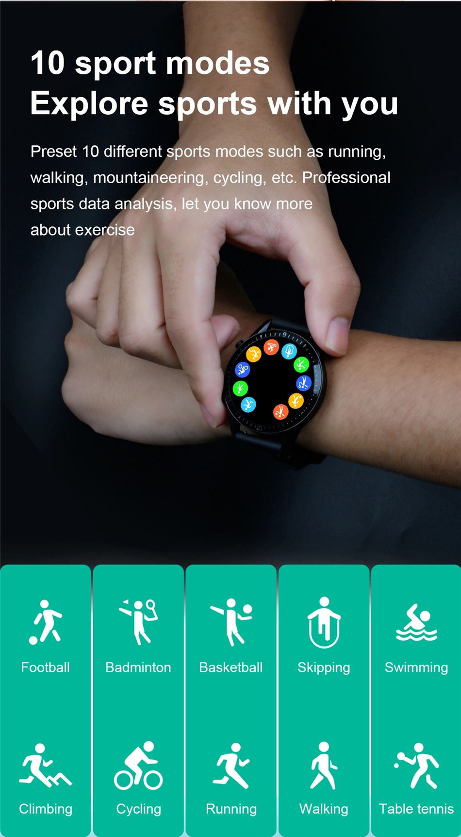 Hae555b0074f347a1a88165a9011cc5abF 2021 Smart Watch Phone Full Touch Screen Sport Fitness Watch IP68 Waterproof Bluetooth Connection For Android ios smartwatch Men