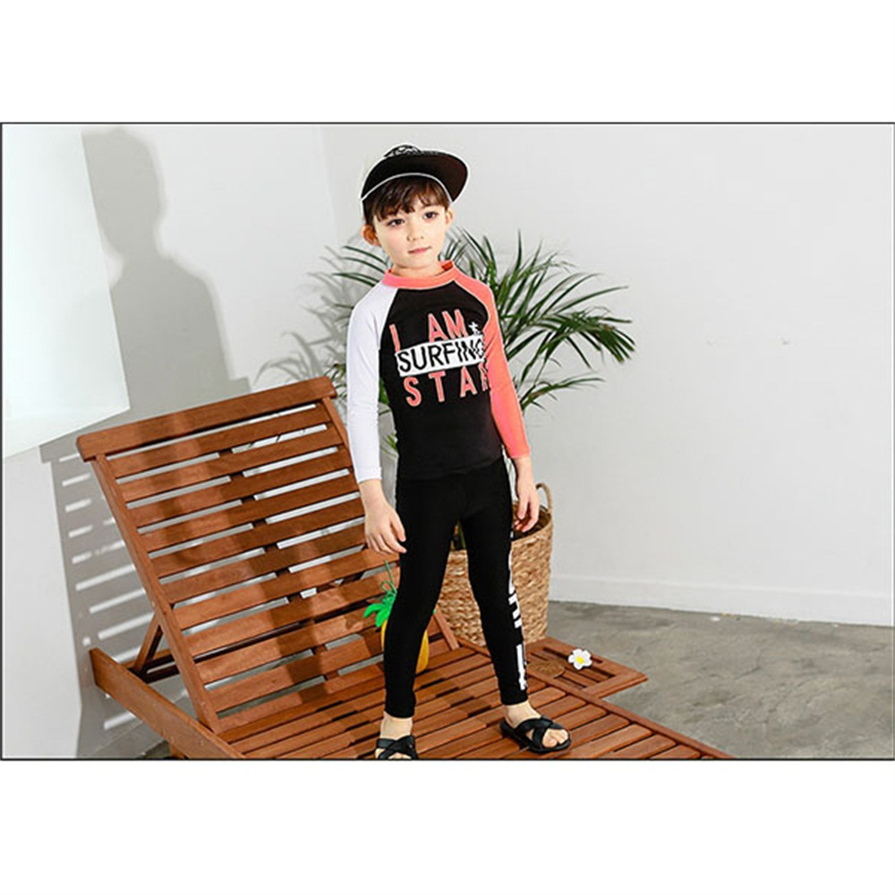 2019 New Style Hot Sales Two-piece Swimsuits Long Sleeve Trousers Lettered Sun-resistant Hot Springs Handsome Cute BOY'S KID'S S