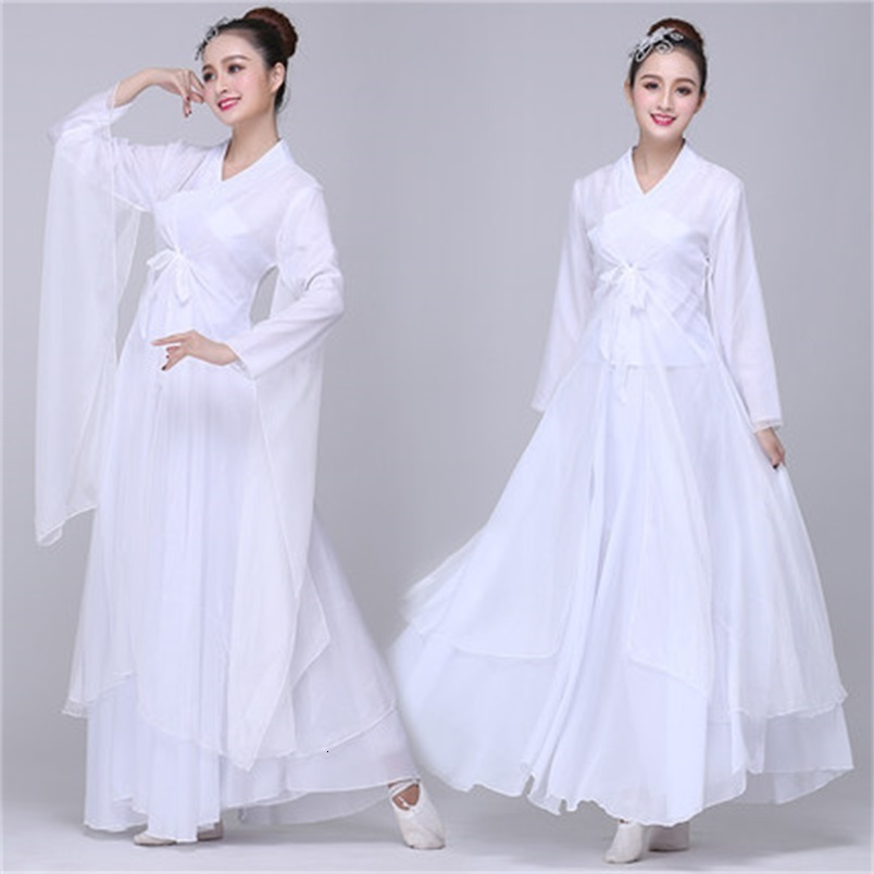 Classic Folk Dance Dress Elegant Adult Style White / Red Elegant Chinese Dress Hanfu White And Red Color Woman Long Sleeve