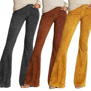 Pants Bottoms-Trousers Flare Suede Vintage Solid-Color Winter Plus-Size Casual Fashion