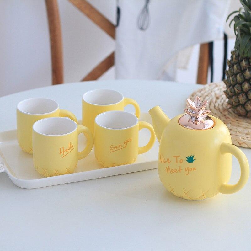 Service à thé en céramique d'ananas | style européen service de bouilloire froide, mignon tasse avec plateau, résistant à la chaleur, ensemble d'eau simple en porcelaine d'os avec plateau