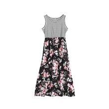 Летнее платье с цветочным рисунком для мамы и дочки; женские длинные платья в полоску для девочек; одежда