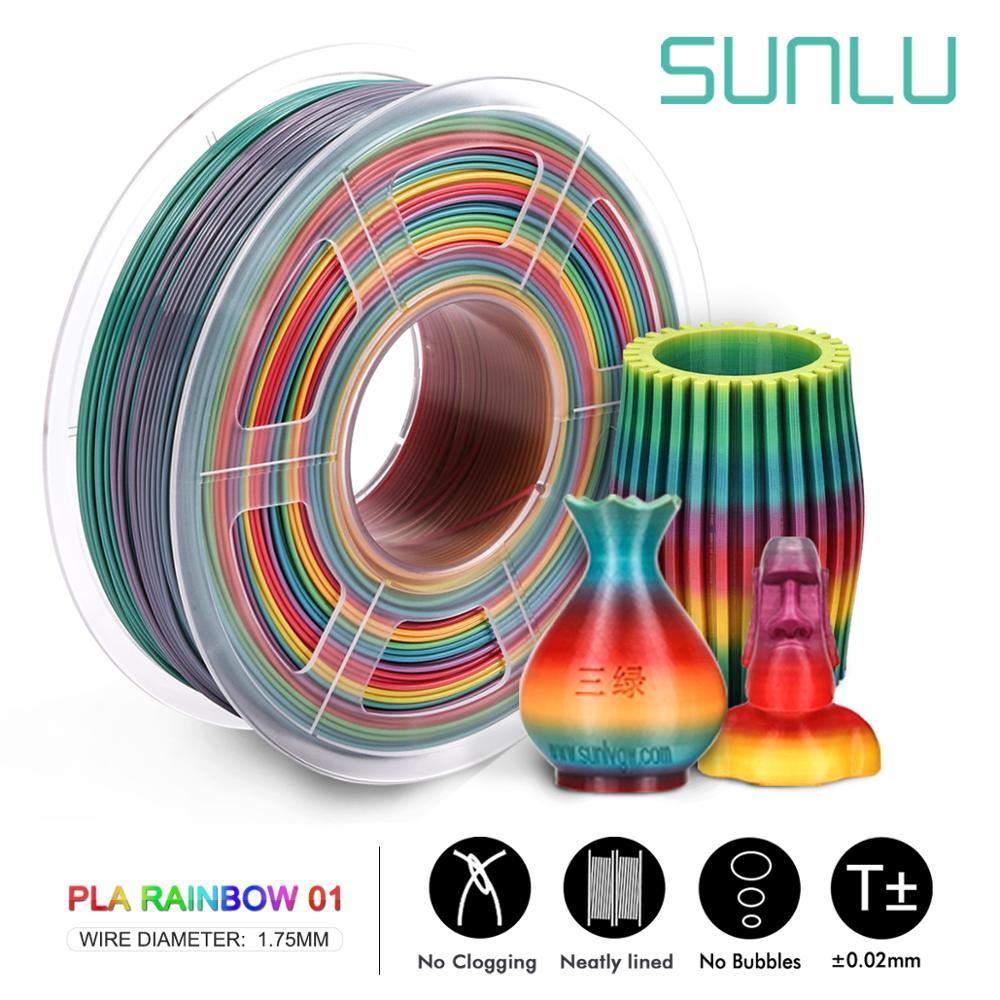 SUNLU PLA Rainbow Filament 1.75mm 1kg 3D Printer Filament 1.75 Mm 1kg For 3D Printer Rainbow Color Printing