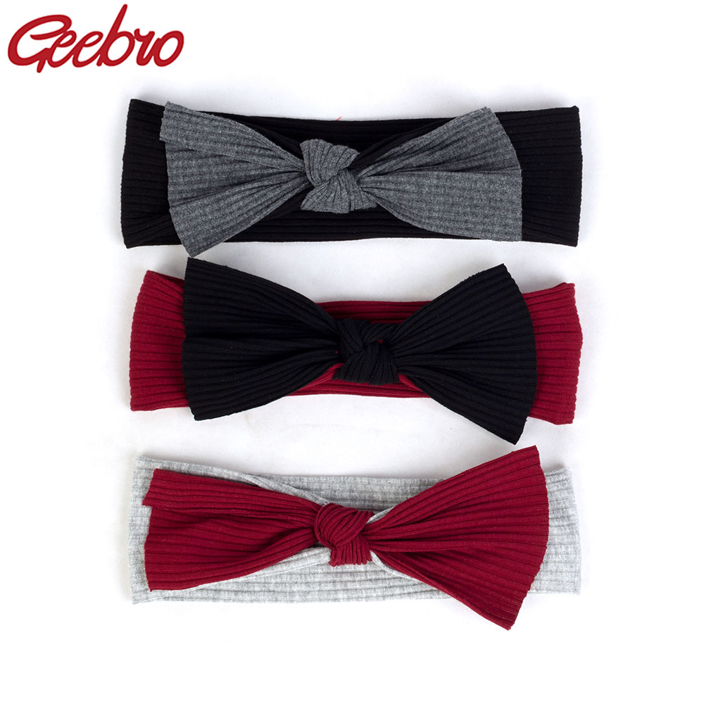 Geebro Newborn baby boys Girls Cotton Ribbed headbands Kids Childs Soft Stretch Bow knot   Headwear   Hair bands Accessories