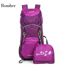 Romher 2020 Lightweight Nylon Outdoor Folding Backpack Travel Foldable Backpack 35L Waterproof Ultralight Climbing Bags Portable
