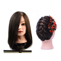 Professional Training Head With 100% Human Hair For Hairdresser Practice Perm Bleaching Dyeing Manikin Cosmetology Doll Head
