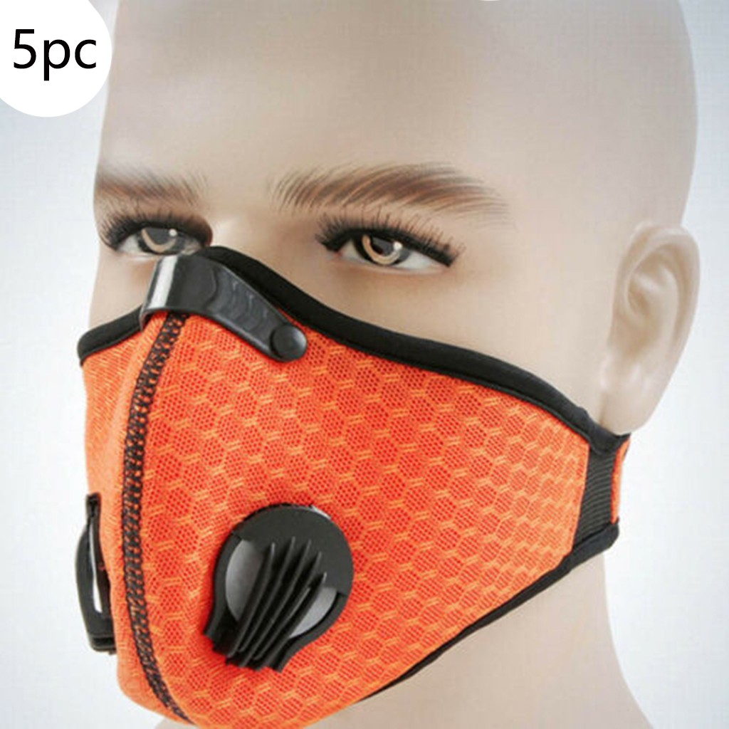 Pack of 5x Sports Face Masks Running Training Cycling Cycle Dust Filter Reusable
