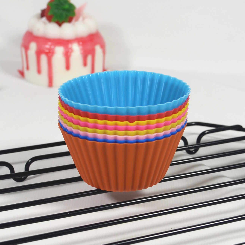 7cm de silicona molde para magdalenas torta Copa pequeño molde de pastel Color 8 Magdalena de repostería molde para magdalenas taza de gelatina molde horno molde para hornear pasteles Diy