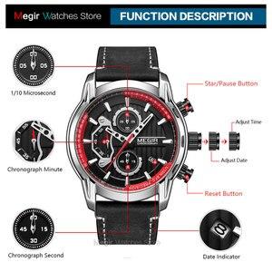 Image 5 - MEGIR männer Armee Sport Uhren Leder Wasserdichte Armbanduhr Mann Chronograph Analog Uhr Mann Leuchtende Relogio Masculino 2104