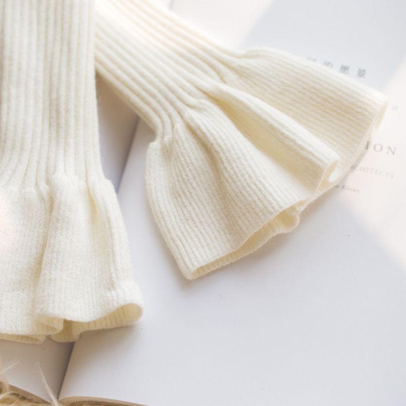 2pcs/pair Knitted Fake Cuff Gloves Women Girls Kr Style Big Wave Wrist Decor