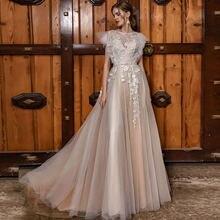 Eightree ТРАПЕЦИЕВИДНОЕ кружевное свадебное платье цвета шампанского