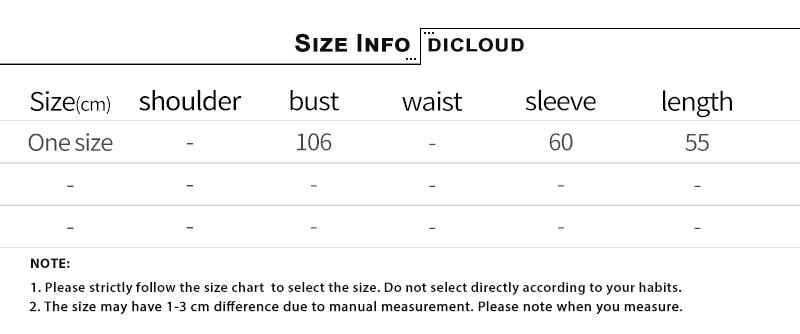尺码表模板one-size