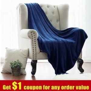 Image 1 - Blanket White Microfiber Fabric Throw Blanket Warm Coral Blankets Travel Flannel Sofa Fleece Blankets For Bed Warm Cobertor